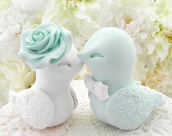Wedding Cake Topper, Love Birds, Light Seafoam Green and White, Bride and Groom Keepsake