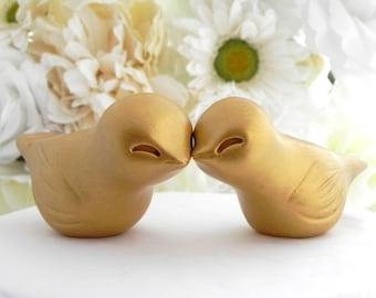Yellow Gold Love Bird Wedding Cake Topper, Metallic Wedding, Bride and Groom, Keepsake
