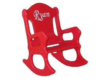 Wooden Kids Rocking Chair- personalized - Red
