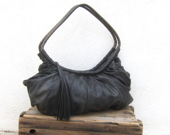 80s BRIO Giant Black Leather Rusched Slouchy Shoulder Hobo Tasseled Bag