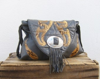 Hobo Fringed Snakskin Slouchy Grey leather Shoulder Bag