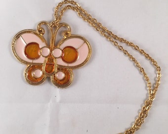Stained Glass Butterfly Necklace