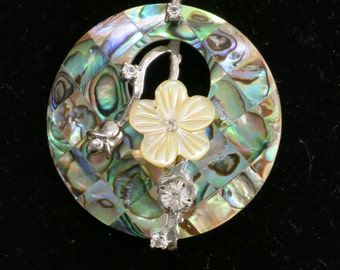 Abalone pendant and 24 inch 925 chain