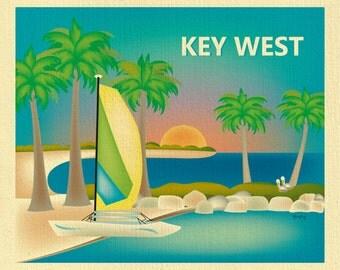 Key West Skyline Print, Key West Wall Art, Key West, Florida Travel Print, Key West Baby Art, Key West art souvenir, Keys - style E8-O-KEY
