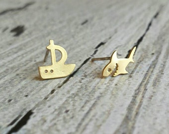 Shark Boat Earrings - small gold mismatched ship / fish studs - .925 sterling silver ear posts - tiny little simple - shark week sailboat