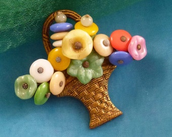 Vintage Floral Basket Glass Bead Brooch Pin with C Clasp