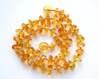 """11.6"""" Natural Baltic Amber child necklace, amber teething neclace, polished beads, honey color amber necklace, free shape beads"""