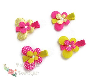 Yellow & Pink Butterfly Hair Clips/Baby Barrettes/Baby Bows/Baby Hair Accessories/Butterfly Hair Clip Set/Toddler Hair Clips/Baby Hair Clips