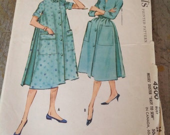 Vintage McCall's Sewing Pattern 4500 Misses' Duster Size 14 Bust 34