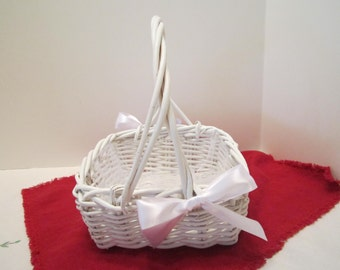 Flower Girl Basket - White Wicker Basket - Dressed Up and Wedding Ready