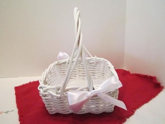 Flower Girl Basket - White Wicker Basket - Dressed Up and Wedding Ready