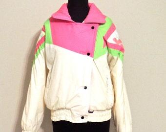 SALE vintage ski jacket - 1980s Avian neon pink puffy jacket
