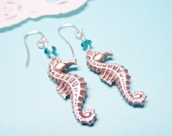 Seahorse Earrings, Silver, Seahorse Jewelry, Nautical Jewelry, Blue Crystal Earrings