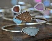 VALENTINES SALE Lux Divine Druzy Wrap Gemstone Bracelet /// Silver