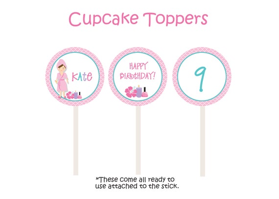 Spa Birthday Party Cupcake Toppers Spa Birthday