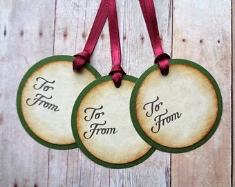 Rustic Christmas Tags Victorian Vintage Style Holiday Hang Tag Hostess Gift To From
