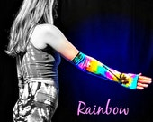 Tie Dye Arm Sleeves, Rainbow, Long