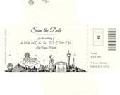 Las Vegas skyline plane ticket save the date card, destination wedding, vegas wedding; SAMPLE ONLY