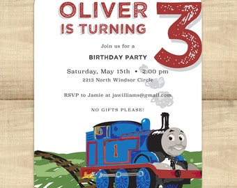 Train Birthday Party Invitations with matching envelopes & return address printing; customizable for girls and boys