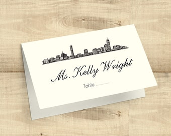 City Skyline Tented Escort Cards/Placecards; Austin, Boston, Chicago, Dallas, Houston, Las Vegas, Los Angeles, Miami, Charleston & more