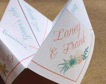 Wedding Ceremony Program Cootie Catcher (PDF - PRINTABLE)