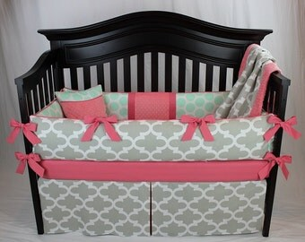ZOE 5 Piece Baby Bedding Set - Quatrefoil/Moroccan style print and mint polka dot baby bedding