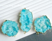 Druzy connector Geode pendant Drusy Gold plated Edge Druzy Geode Pendant in ocean blue color Drusy Jewelry Making JSP-6818