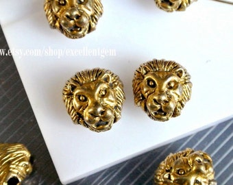 7% off, 10p Antique gold tone beads, Lionhead Metal Beads, Metal connector beads - 10mm