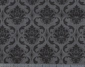 Cotton Fabric - BLACK and GREY Damask Print - by the Yard