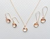 Champagne jewelry Bridal jewelry set Bridesmaid jewelry Champagne earrings Peach jewelry Peach earrings Peach necklace Jewelry set Gift