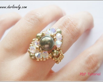 Beaded Ring Pattern - Golden Green Pearl Oval Ring (RG079) - Beading Jewelry PDF Tutorial  (Digital Download)