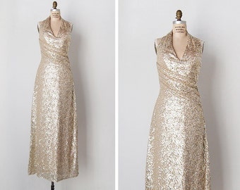 vintage sequin dress / sequin halter dress / Harzfelds sequin dress / Magical Moment dress