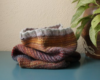 """Knitted Circle Scarf,""""Desert Hues"""""""