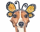 Greyhound Print - 8x10 Watercolor PRINT, Italian Greyhound, Butterfly Wings, Nursery Art