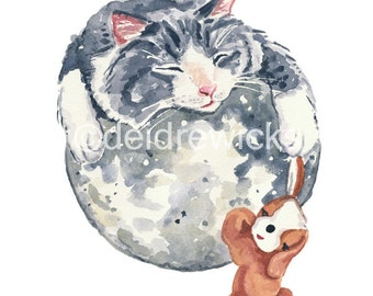 Gray Cat Watercolor Print - Moon Watercolour, Outer Space, Sleeping, 11x14