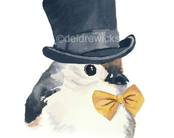 11x14 Bird Watercolor PRINT - Tufted Titmouse, Bird Illustration, Top Hat