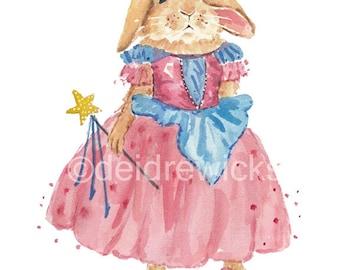 Rabbit Watercolor PRINT - Princess Rabbit, Princess Crown, 8x10 Print, Nursery Art