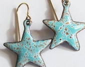 Aqua star dangle earrings Colorful enamel celestial jewelry Small gold and aqua star drop earrings Gold wires
