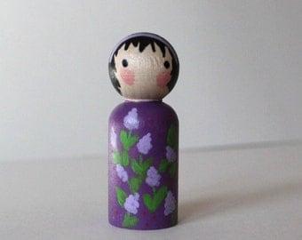 Peg Doll - Spring Doll - Mini Kokeshi Doll - Wooden Doll Waldorf Handpainted - Lilacs