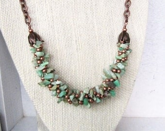 Copper and Green Chrysoprase Beaded Rope Necklace, Copper and Green Kumihimo Necklace, Natural Stone Beaded Necklace
