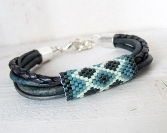 Sea Foam Green, Turquoise Blue, Navy Blue and Indigo Peyote Banded Leather Bracelet, Pacific Blue Multi-Stranded Rustic Leather Bracelet