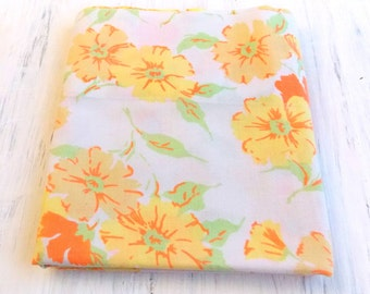 RESERVED / Vintage Pillowcase /  Yellow & Orange Floral Print