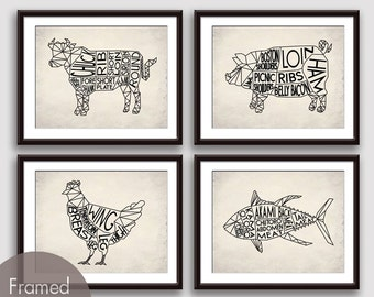 Geometric Butcher Diagrams Series A , Pig, Chicken and Tuna Fish - Set of 4 Art Prints (Featured in Black on White Stone)