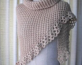 CARAMEL Beige Hand Knit Shawl Triangle Scarf in 100% Acrylic yarn/ Bridal shawl/ Ready to Ship