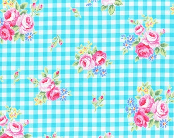 Lecien gingham Flower Sugar fall 2015 - floral on teal blue check