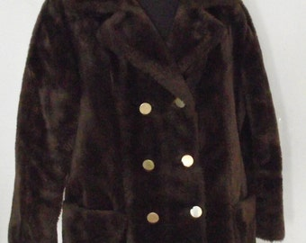 1960/70s Sears Funny Faux Fur Winter Jacket-Dark Chocolate Brown Outerwear Winter-Washable-size 14 Woodland Outerwear Mid Century Mod Warm