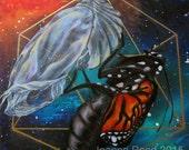 "Panel III of III of ""Quest"" Triptych, Chrysalis Galaxy Sacred Geometry Artwork"