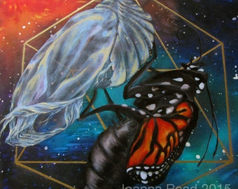 "Panel III of III of ""Quest"" Triptych, Chrysalis Galaxy Sacred Geometry Artwork"