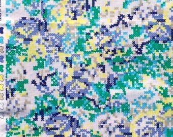 Hipster cross stitch floral green/blue Riley Blake fabrics FQ or more
