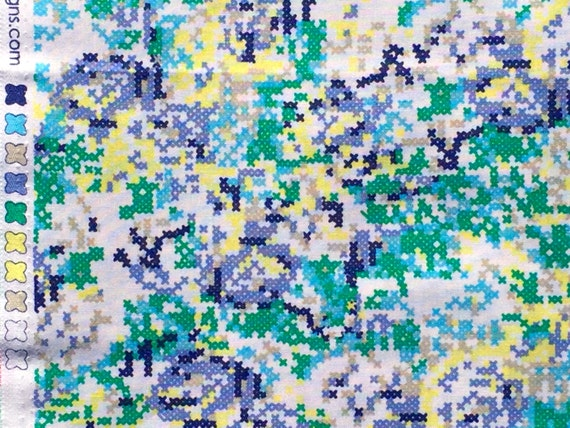 SALE : Hipster cross stitch floral green/blue Riley Blake fabrics FQ or more